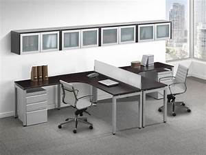 Contemporary, 2, Person, T, Shape, Desk, With, Glass, Accent, Storage, Cabinets