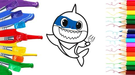 cute daddy shark  baby shark draw  coloring
