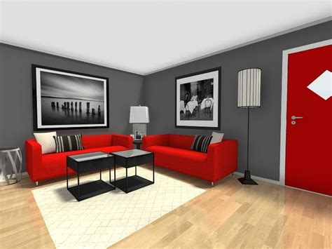 Red Gray And Black Living Rooms-coma Frique Studio