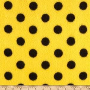 Fleece Print Polka Dots Yellow/Black - Discount Designer ...