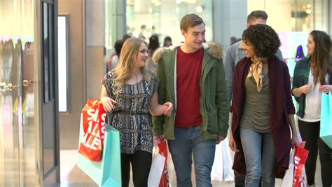 slow motion sequence  friends shopping  mall