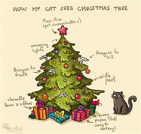 cat first seen christmas tree how cats see trees comic by catsu