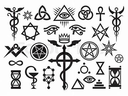 Occult Medieval Magic Signs Vector Symbols Stamps