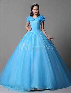cyan ball gown dress organza cinderella off the shoulder With robe princesse femme