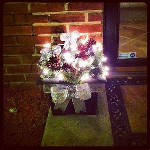 Garland, Pine, Cones, Ornaments, Bows, And, Some, Lights