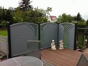 Balkon Sichtschutz Kunststoff Grau : moderner terrassensichtschutz in grauen dekor ~ Bigdaddyawards.com Haus und Dekorationen