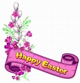 Pink Happy Easter Banner and Flowers | Happy easter banner ...