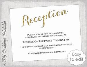 wedding reception invitation template diy gold With examples of wedding reception cards