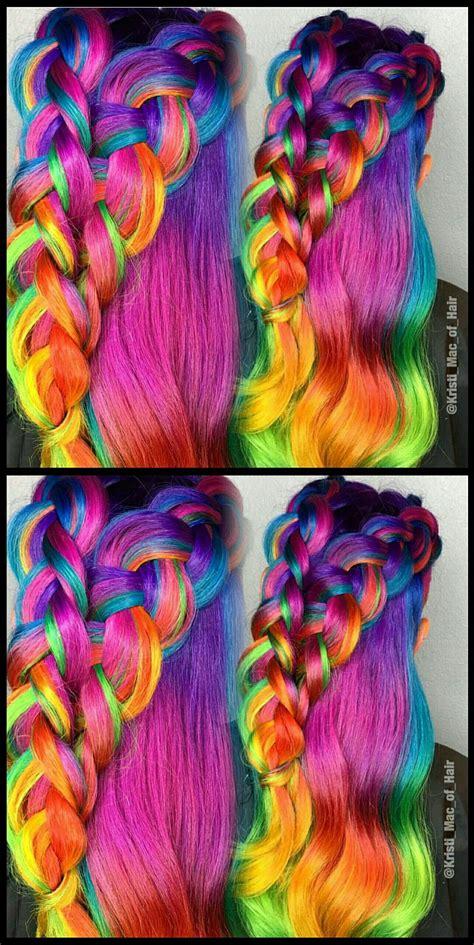 Pink Braided Rainbow Dyed Hair Color Kristimacofhair