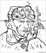 Van Gogh Pages Portrait Self Vincent Coloring Ear Bandaged Printable Print sketch template