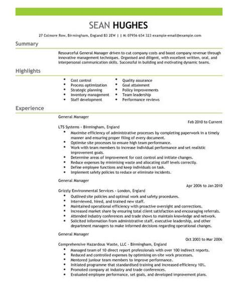 management general manager cv template cv samples examples