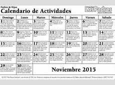 Calendario de actividades para el mes de noviembre – CEIP