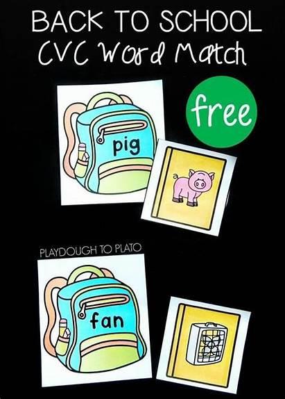 Cvc Word Kindergarten Match Words Literacy Playdoughtoplato