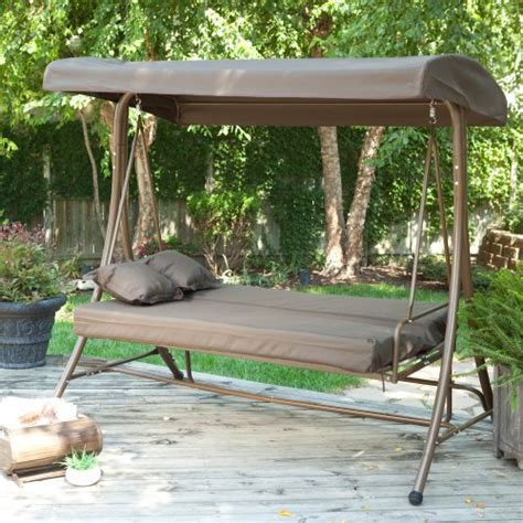 coral coast siesta 3 person canopy swing bed chocolate