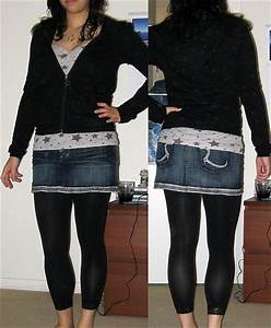 Image Gallery jean skirt with leggings
