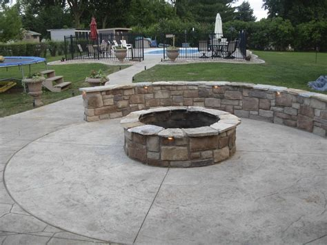 built in pits stone patios fire pits patio designs ideas about round plus with built in pit trends design