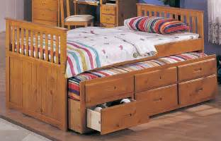 3 drawer trundle twin captain bed with and in honey oak finish