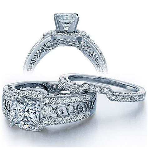 certified 2 carat princess cut vintage wedding ring in white gold jeenjewels