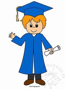 Graduation boy clip art | Coloring Page