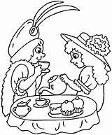 Tea Party Coloring Pages Printable Print Birthday Strawberry Clipart Drawing Teaparty Sip Puzzle Older sketch template