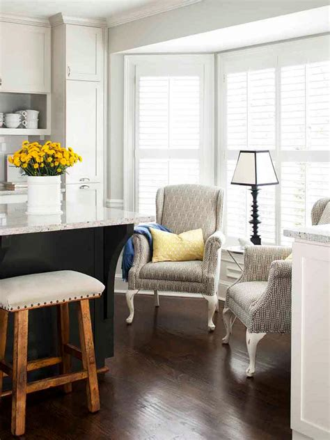 sitting area in kitchen instead of table pair of wingback chairs in kitchen sitting area hgtv