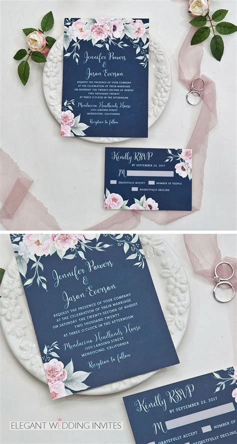 Gorgeous navy blue and blush pink floral watercolor
