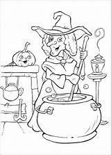 Coloring Pages Potion Witch Halloween sketch template