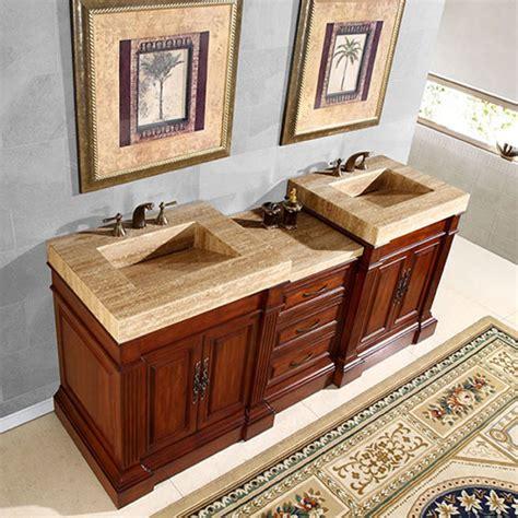 double sink vanity   unique travertine top