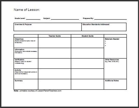 templates daily lesson plan template
