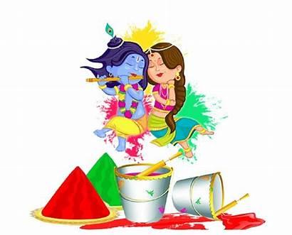 Holi Krishna Radha Festival Happy Cartoon Painting