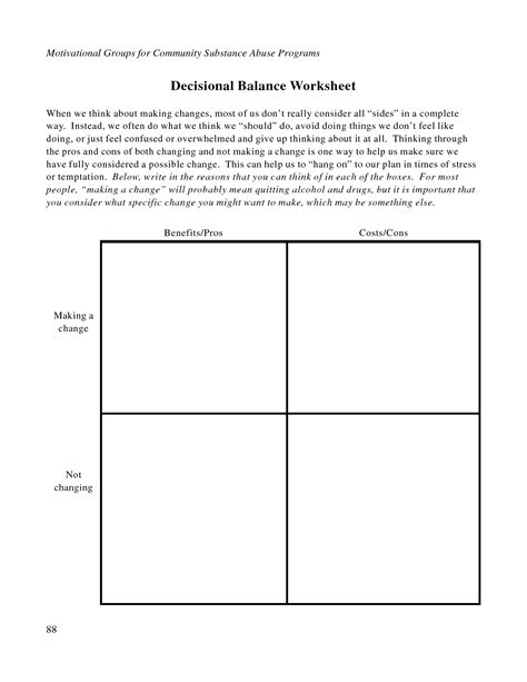 free printable dbt worksheets decisional balance