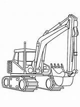 Excavator Coloring Digger Realistic Kleurplaat Kraan sketch template