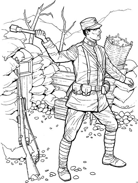 soldat wirft taschenlampe ausmalbild malvorlage schlachten