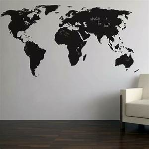 chalkboard world map wall sticker blackboard paint With what kind of paint to use on kitchen cabinets for diy world map wall art