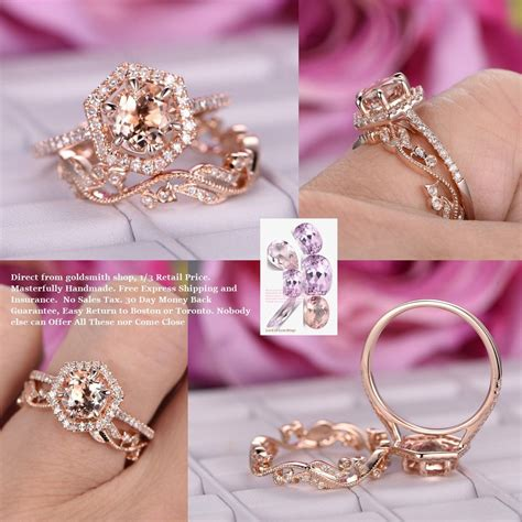 799 morganite engagement ring sets floral wedding band 14k rose gold lord of gem rings