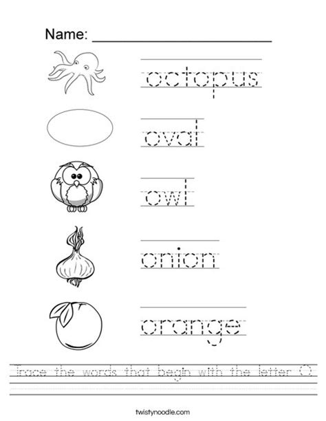 words with the letter o trace the words that begin with the letter o worksheet 50328