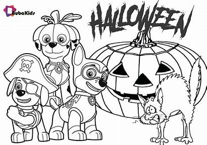 Patrol Coloring Halloween Paw Pages Template Party