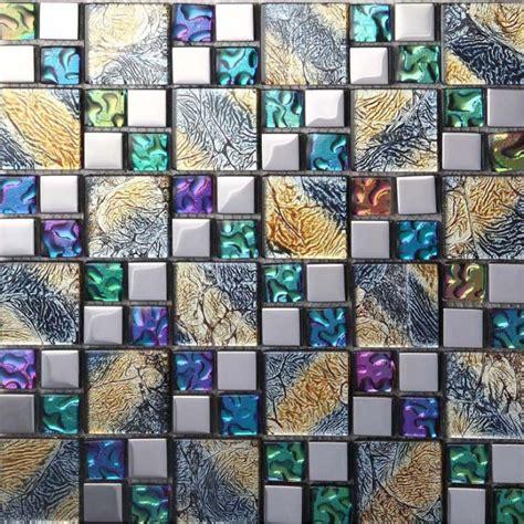 glass and mosaic tile iridescent mosaic tile plated glass backsplash