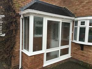 Hipped Lean To Porch With Small Tiles  Upvc Sliding Patio Door   Twswindowsanddoors Co Uk