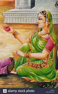 Traditional Indian oil painting on canvas of an Indian ...