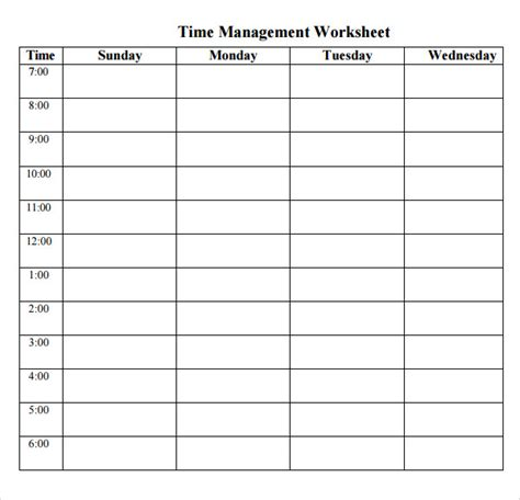 Time Management Schedule Template Free by Printable Time Management Schedule Calendar Template