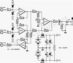 Ecg Amplifier By Tlc274 Circuit Diagram