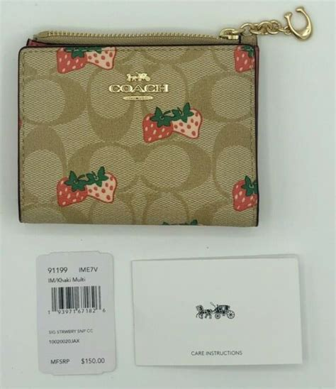 More women bags from coachfree shipping. Coach Strawberry Snap Card Case in Signature Canvas Wallet 91199 for sale online   eBay