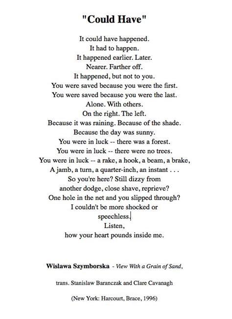 wislawa szymborska quot could quot poetry
