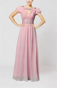 baby pink romantic a line scoop short sleeve zipper With romantic dresses for wedding guests