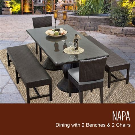 napa rectangular outdoor patio dining table with 2 chairs