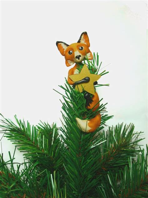 custom fox christmas tree topper  littleberties  etsy