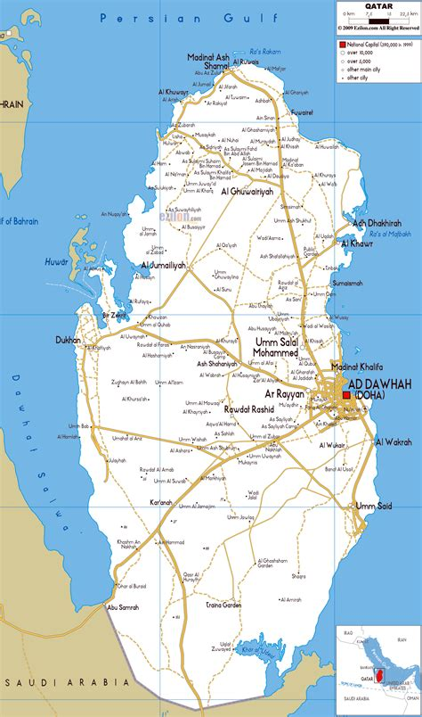 large road map  qatar  cities  airports qatar