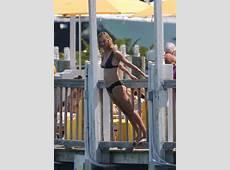 Uma Thurman in Black Bikini in Miami