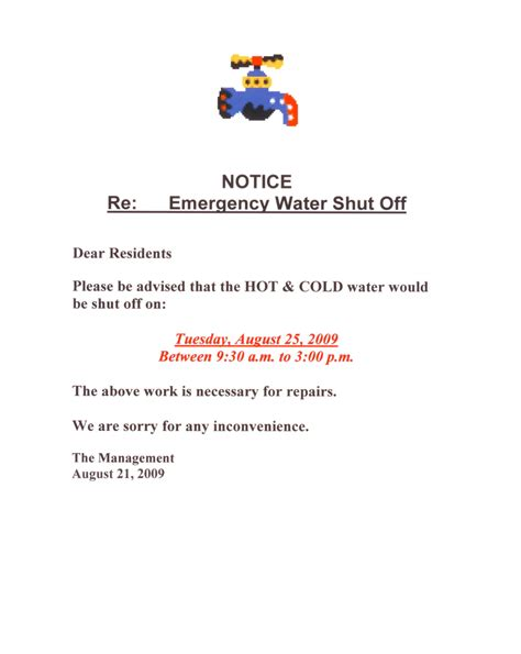 water shut  notice  tenant template towing